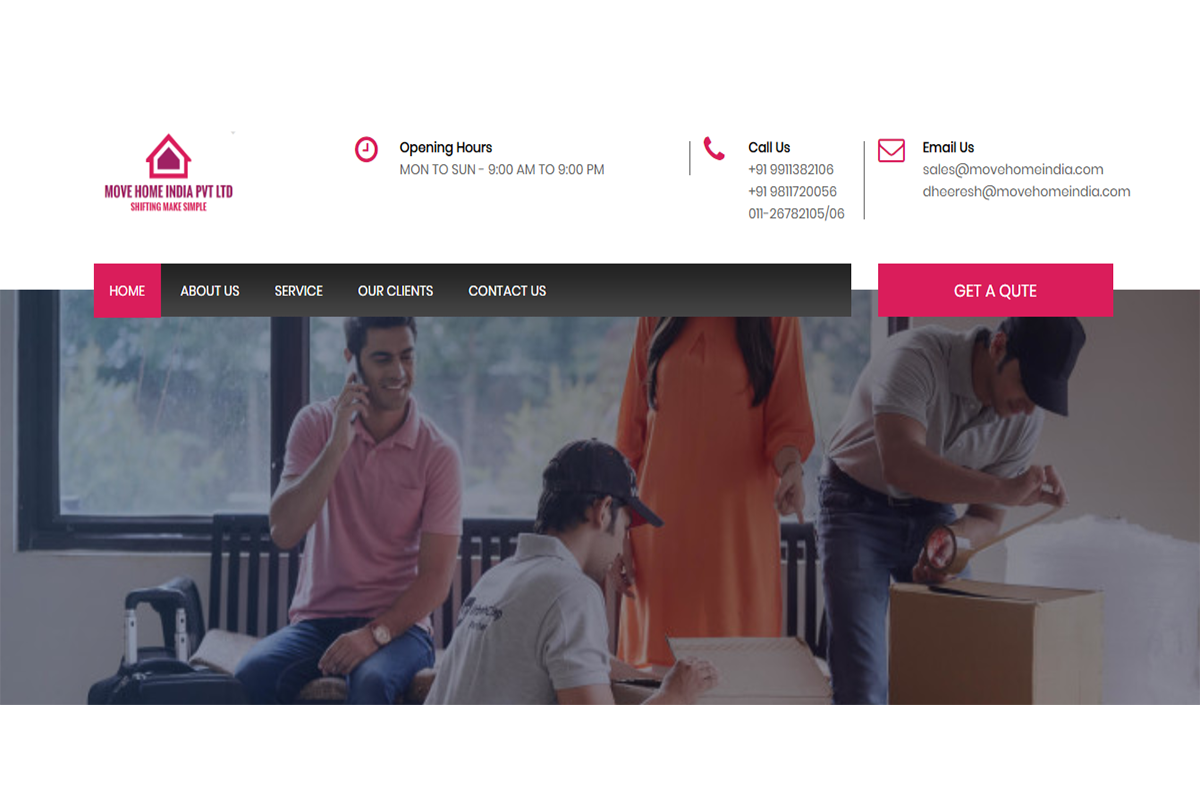 movehomeindia | Packer Mover Website Designing