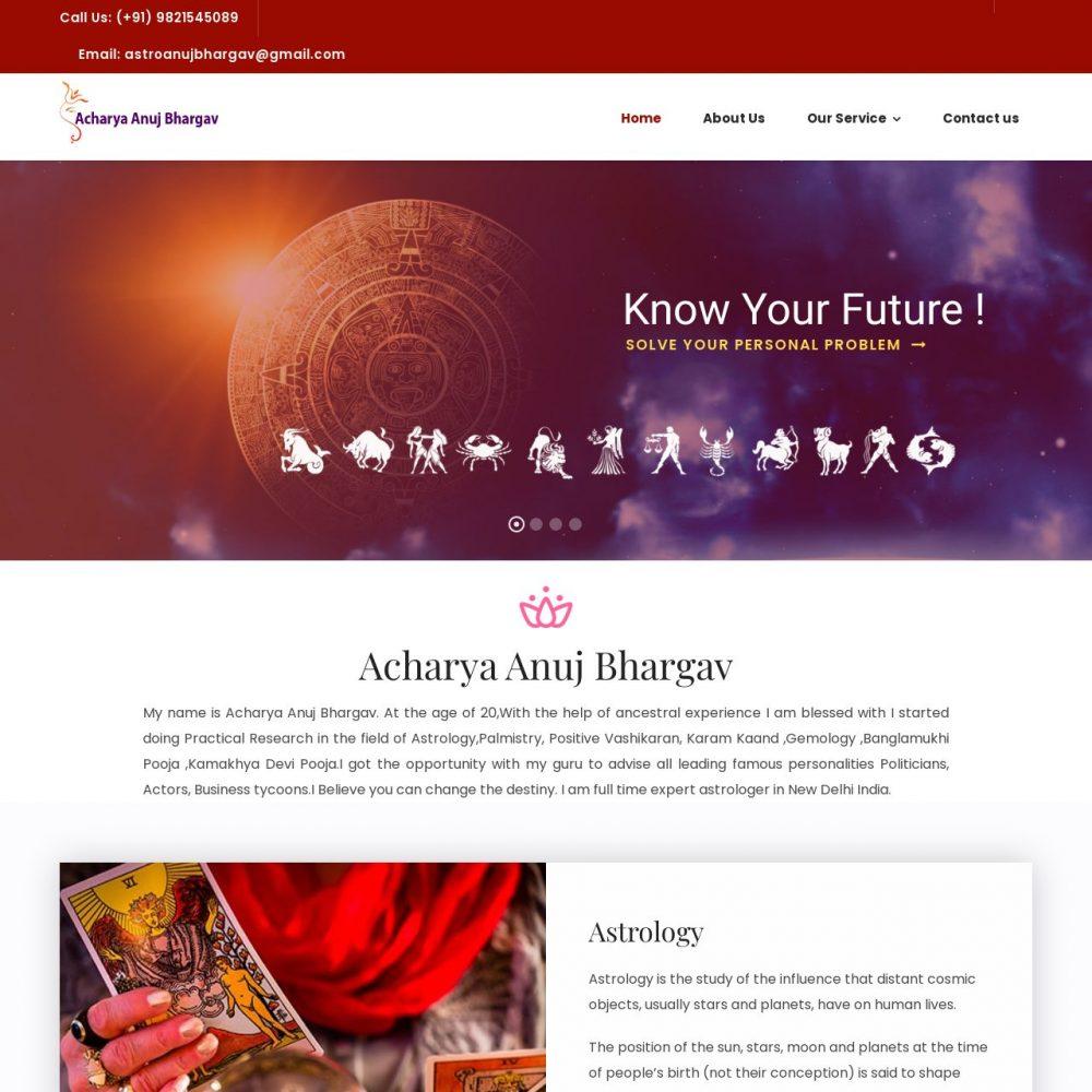 Acharyaanujbhargav- Astrology Website Designing in Delhi India.